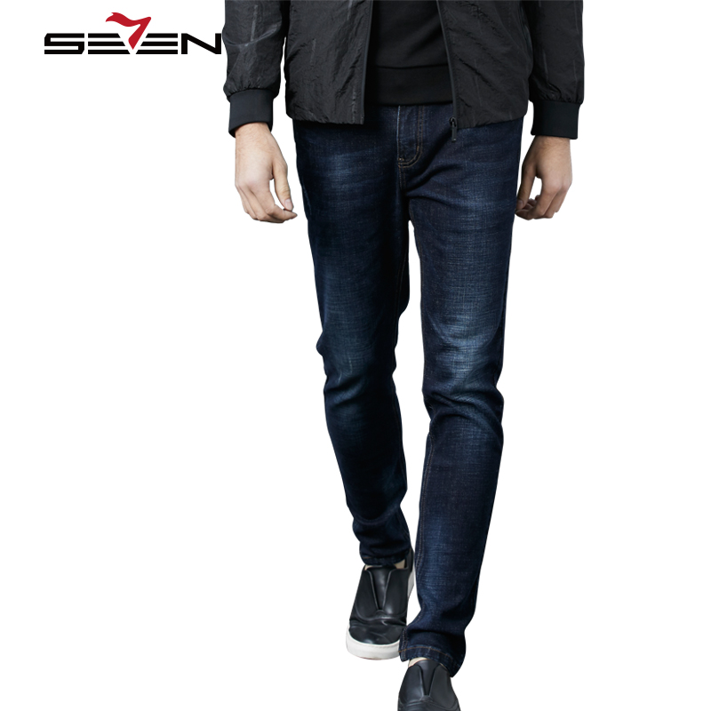 Seven7 High Quality Skinny Biker Jeans Men Slim Fit Famous Brand Ripped Jean Pants Male Straight Casual Denim Trousers 113S80060 2017 men jeans slim fit eagle wing embroidered biker denim pants male rap casual hole ripped punk jeans slim fit straight plus