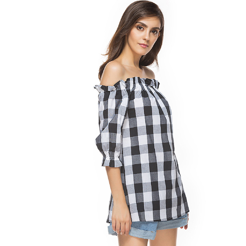 CR 2018 Off Shoulder Womens Blouse Summer Slash neck Plaid Sexy Shirts Tops Female Clothes Fashion Casual Blouses