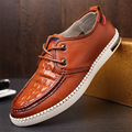 New Brand Men Genuine Leather Shoes Fashion Crocodile Grain Men Oxfords Shoes Comfortable Casual Loafers Driving Shoes Flats 2A
