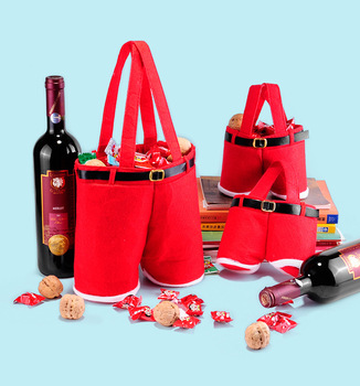 12PCS Merry Christmas Gift Treat Candy Wine Bottle Bag Santa Claus Suspender Pants Trousers Decor Christmas Gift Bags