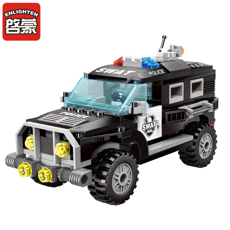 ENLIGHTEN DIY City Series Police Swat Car Building Block sets Kids Educational Bricks Toys Compatible With Children Gifts 1713 city swat series military fighter policeman building bricks compatible lepin city toys for children