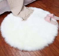 New Round shape Super Soft Faux Sheepskin Chair Warm Hairy Carpet Seat Pad Skin Fur Plain Fluffy Area Rugs Washable Bedroom Mat