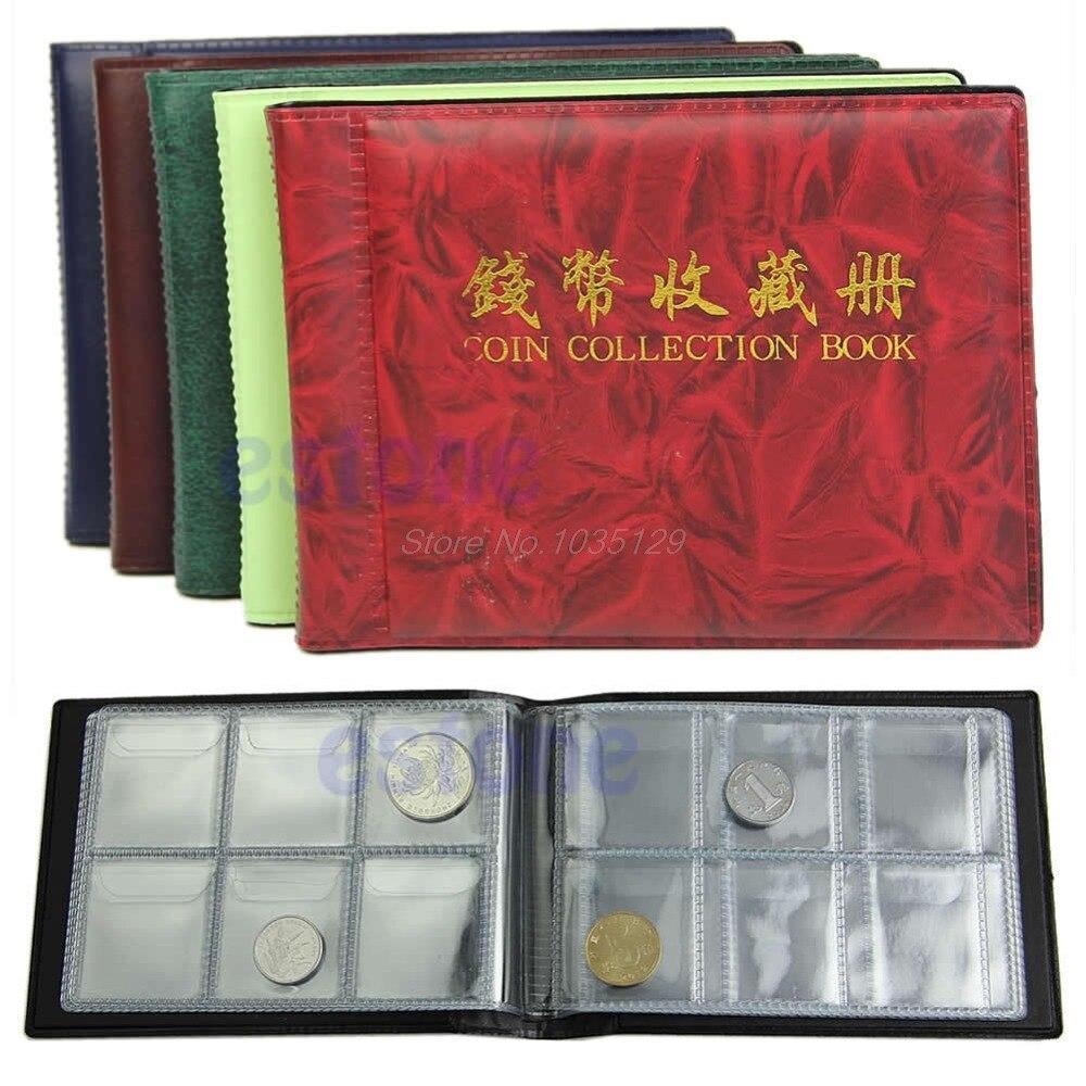 60 Coin Holder Collection Storage Album Money Penny Pockets Album Book cheBP