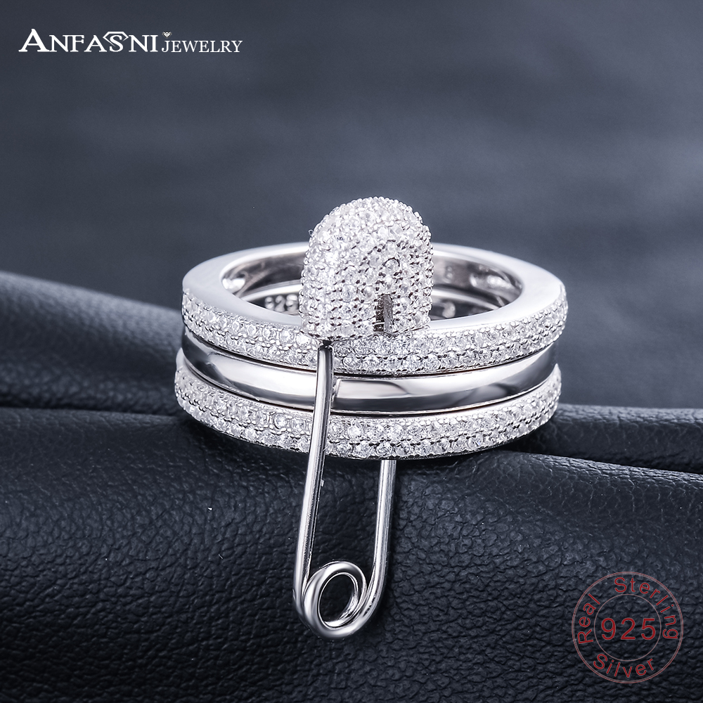 ANFASNI Real 925 Sterling Silver Rings Cubic Zirconia Ring for Women ...
