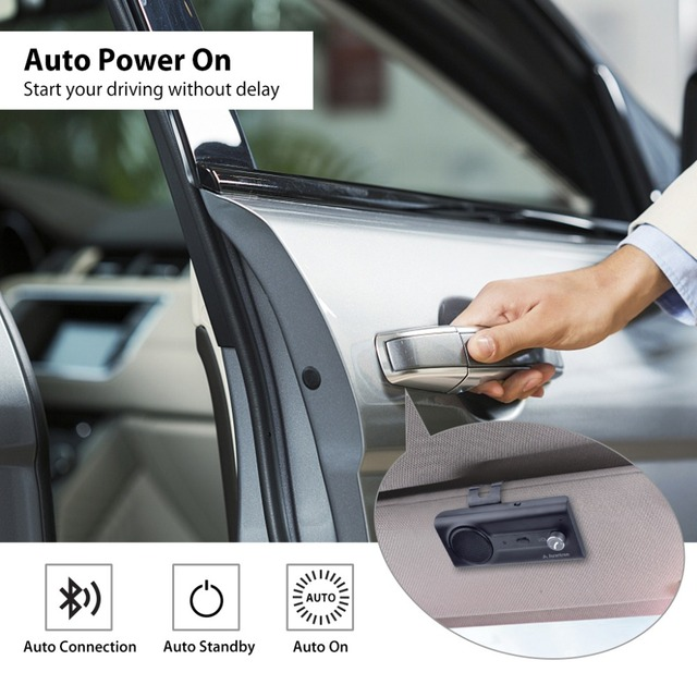 2018NEW Bluetooth Handsfree Visor Car Kit with Siri, Google Assistant Voice Command, Auto Power On Wireless In Car  speakerphone 2