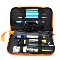 60W 220V Portable Soldering Iron Adjustable Temperature Iron Tips Welding Repair Tool Kit Tweezers EU