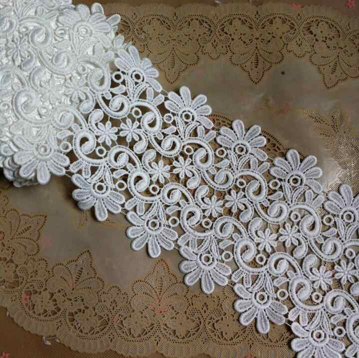 1 Meter/lot 10cm Width Sewing Accessories Water Soluble Floral Lace Applique White Embroidered Lace Trim