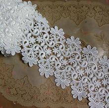 1 メートル/ロット 10 センチ幅縫製アクセサリー水溶性花柄レースアップリケホワイト刺繍レーストリム