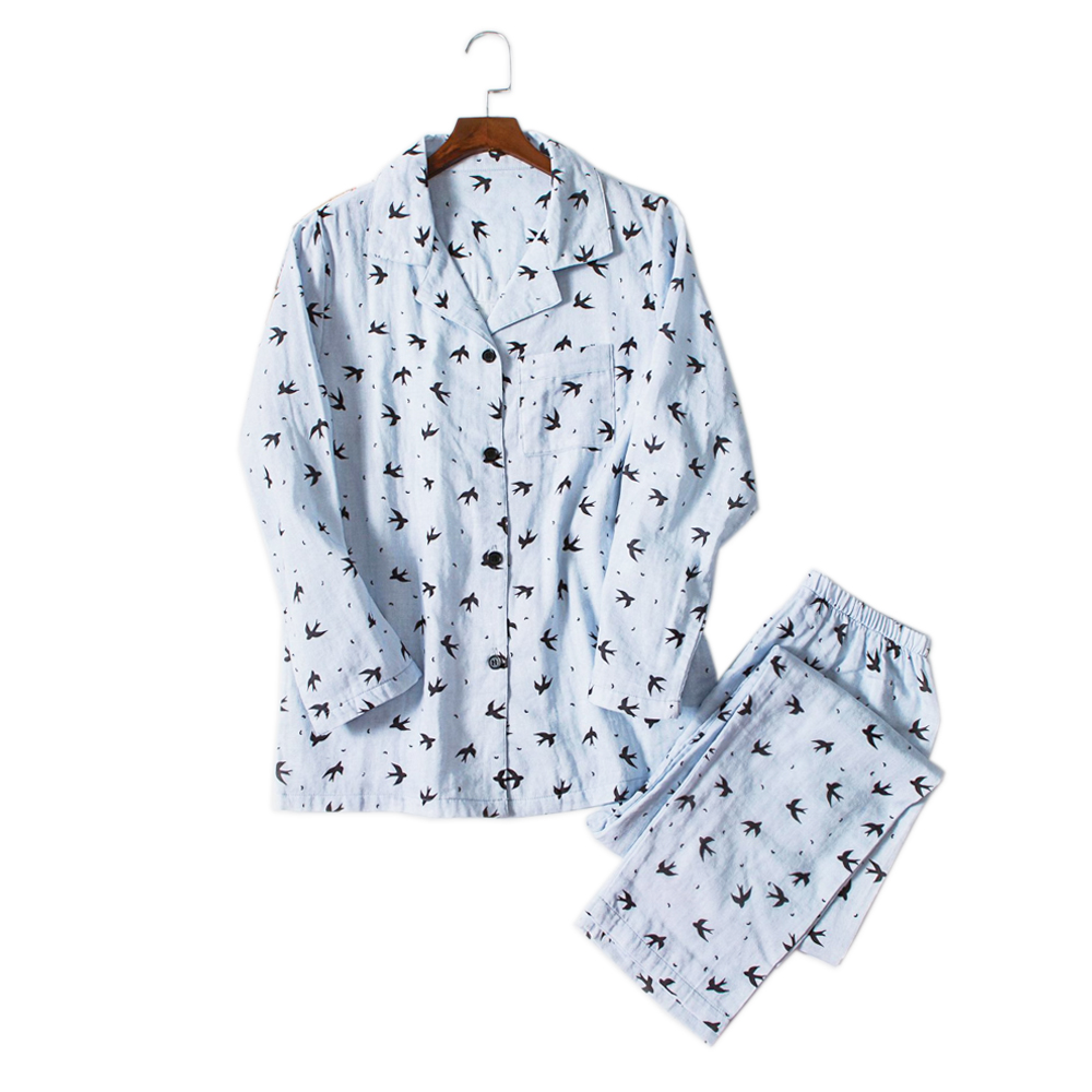 Small Size Student Fresh Swallow Sleepwear Men Pajama Sets Hombre 100% Gauze Cotton Casual Male Long Sleeve Cozy Pyjamas