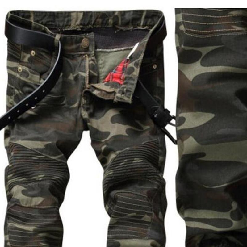 European Style 2018 Men's Jeans Denim Trousers, Army Green Jeans Camouflage Straight  Pants Slim Jeans, Zippers Biker Jeans Men
