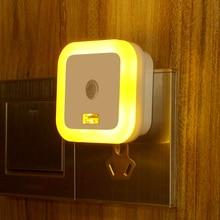 Square Auto LED Light Induction Sensor Control Bedroom Night Lights Bed Lamp with USB 1A US Plug,night lamp,bedroom light