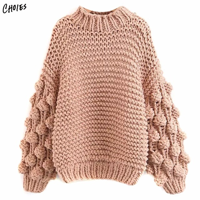 2d8fb619c1 Three Colors High Neck Puff Long Sleeve Chunky Knit Sweater Casual Loose  Thick Warm Women Pullover and Jumper For Winter