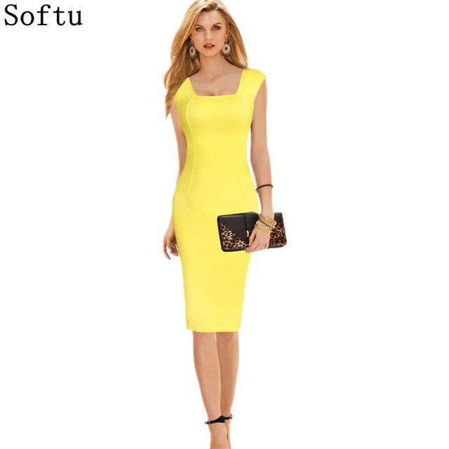Softu Women Summer Style Dress Sexy Knee Length Short Sleeve Bodycon Slim Pencil Dresses Sheath Solid Office Dress