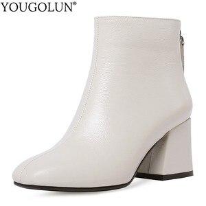 Image 1 - جلد طبيعي حذاء من الجلد النساء حافر كعب الخريف سيدة عالية الكعب الأحذية A263 امرأة الموضة أسود بيج ساحة تو زيبر الأحذية