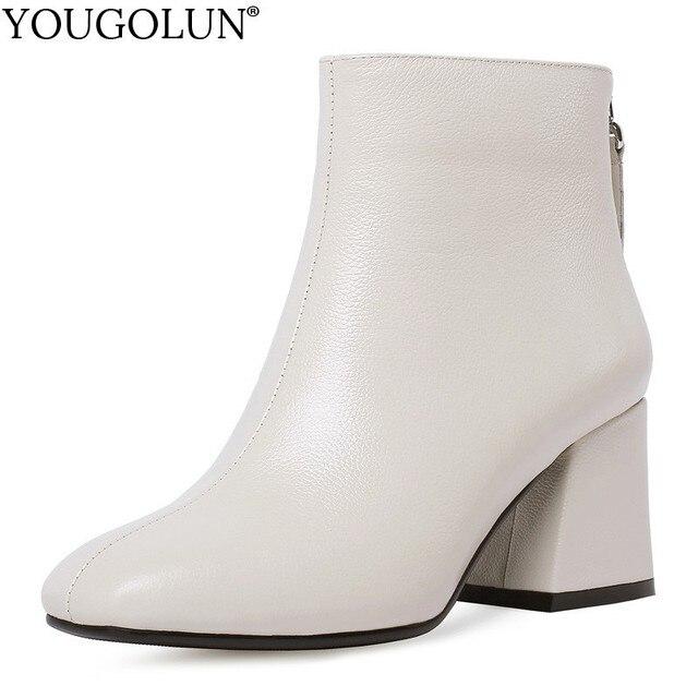 جلد طبيعي حذاء من الجلد النساء حافر كعب الخريف سيدة عالية الكعب الأحذية A263 امرأة الموضة أسود بيج ساحة تو زيبر الأحذية