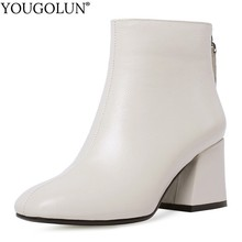 Genuine Leather Ankle Boots Women Hoof Heel Autumn Lady High Heels Shoes A263 Fashion Woman Black Beige Square Toe Zipper Boots