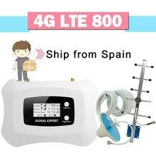 4g lte 800 celular impulsionador de sinal 70db ganho display lcd 4g lte 800 banda 20 repetidor de sinal celular 4g amplificador de telefone móvel