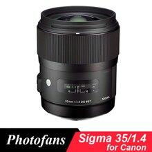 Sigma 35/1. 4 Art obiektyw do modeli canon 35mm f/1.4 DG obsługi HSM sztuki obiektyw do modeli canon 700D 750D 760D 800D 60D 70D 80D 7D 6D 5DII 5diii 5Ds 1Dx