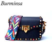 Burminsa Brand Colorful Rivets Genuine Leather Bags Ladies Shoulder Messenger Bags Designer Handbags Crossbody Bags For