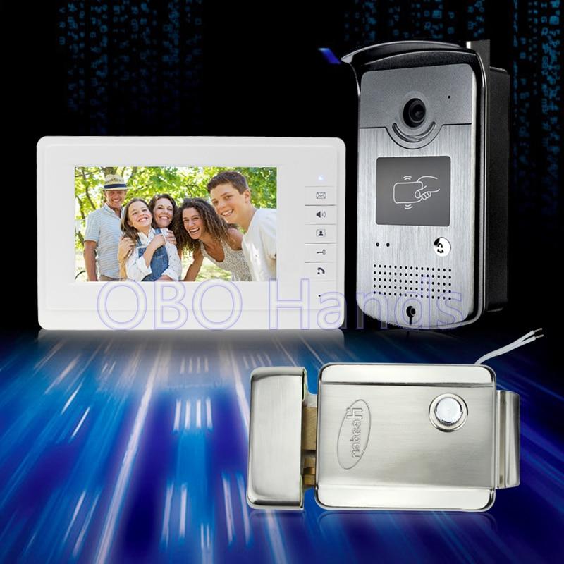 7 ''couleur filaire vidéo porte téléphone interphone sonnette système kit set avec moniteur + IR extérieure caméra avec RFID touches + serrure électrique