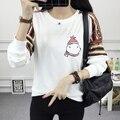 2016 Mulheres T-shirt Outono Vento Colégio Coreano Versão Longa Solta Estudantes Caráter Ocasional T-shirt Longo Da Luva Das Mulheres