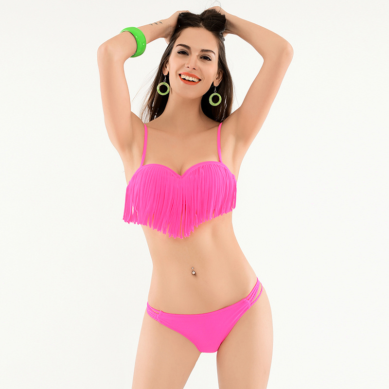 2016 Top Quality Tassel Sexy Bikini Brazilian Neon Yellow Swimwear Women's Swimsuit Push Up Mini Bathing Suit Beach Pool 4 Color