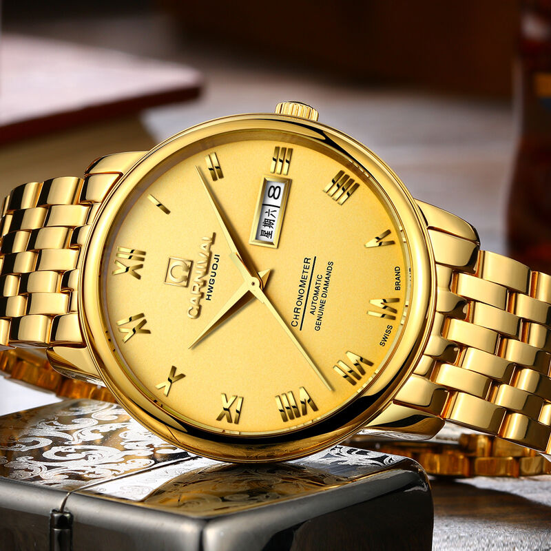 Carnival Luxury Brand Watch Men Automatic Mechanical Miyota Movement Luminous Full Gold