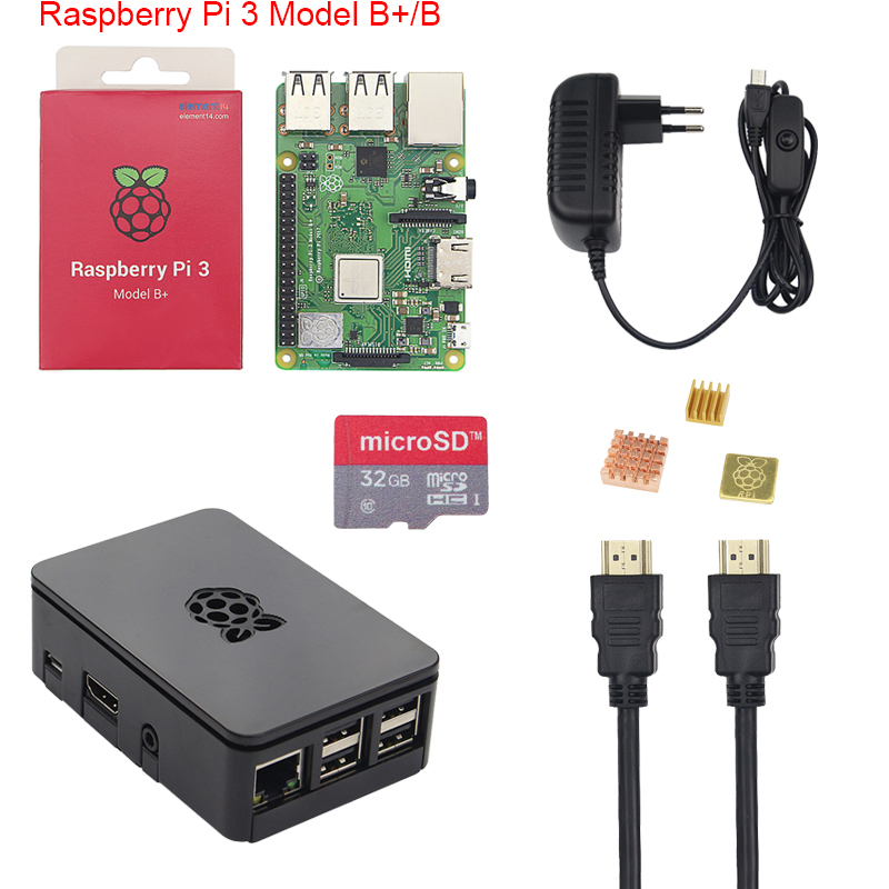 Original Raspberry Pi 3 B+ Starter Kit 2.5A Power Supply Adater + 16 32GB SD Card + Case +Heat Sink for Raspberry Pi 3 Model B+ raspberry pi zero v1 3 development kit package e with 2 13inch e paper hat 16gb micro sd card and other basic components