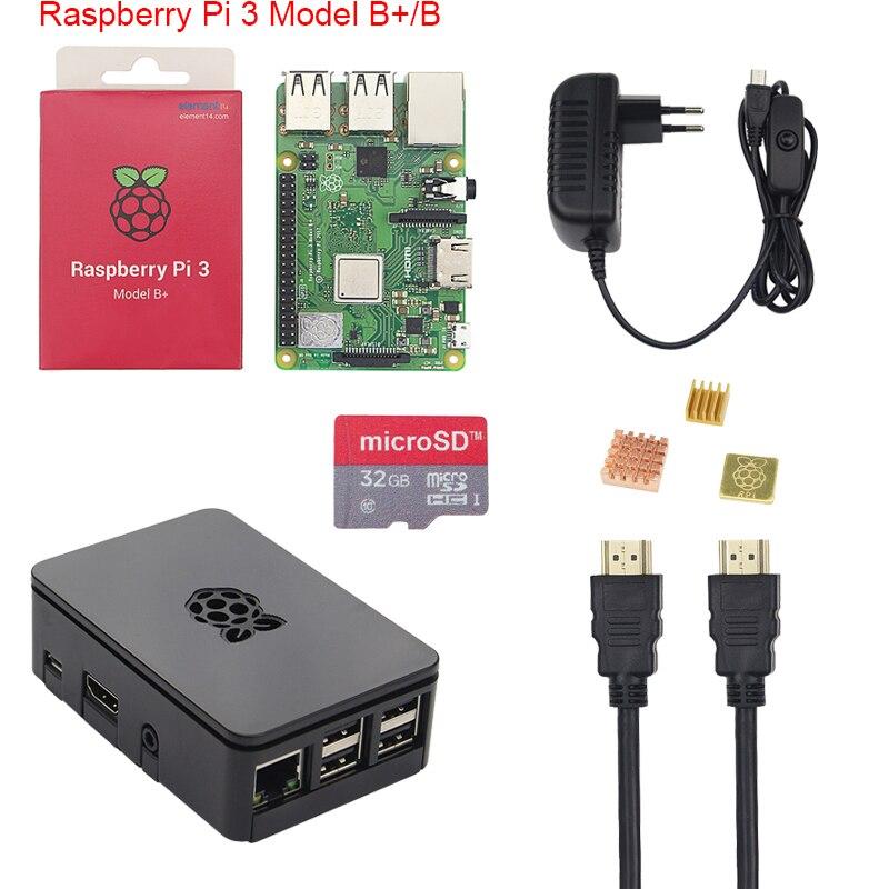 Originale Raspberry Pi 3 B + Starter Kit 2.5A Alimentazione Adater + 16 32 gb SD Card + Caso + Dissipatore di calore per Raspberry Pi 3 Modello B +
