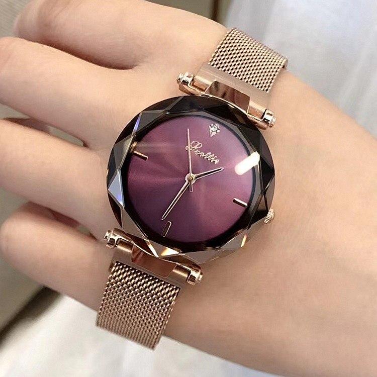 d290f515005 2018 Marca de Luxo senhora Relógio De Cristal Ímã fivela Mulheres Dress  Watch Moda Feminina Relógio de Quartzo relógios de Pulso de Aço Inoxidável  em ...