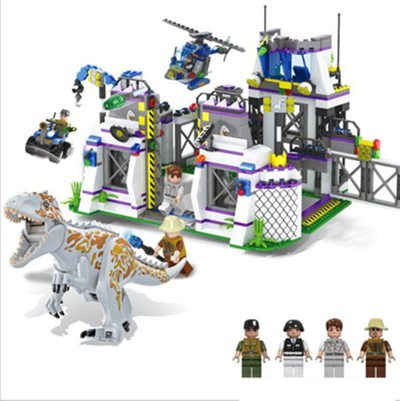 Dinosaur Indominus Rex Breako Jurassic Dinosaur World 856pcs Bricks Building Block Toys Gift For Children XD01 wiben jurassic tyrannosaurus rex t rex dinosaur toys action