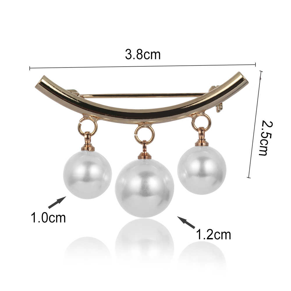 Women Charm Three Pearl Blouse Shirt Collar Stick Pin Scarf Safety Pins Brooches Sweater Jewelry Fashion Clothes Decors Broche