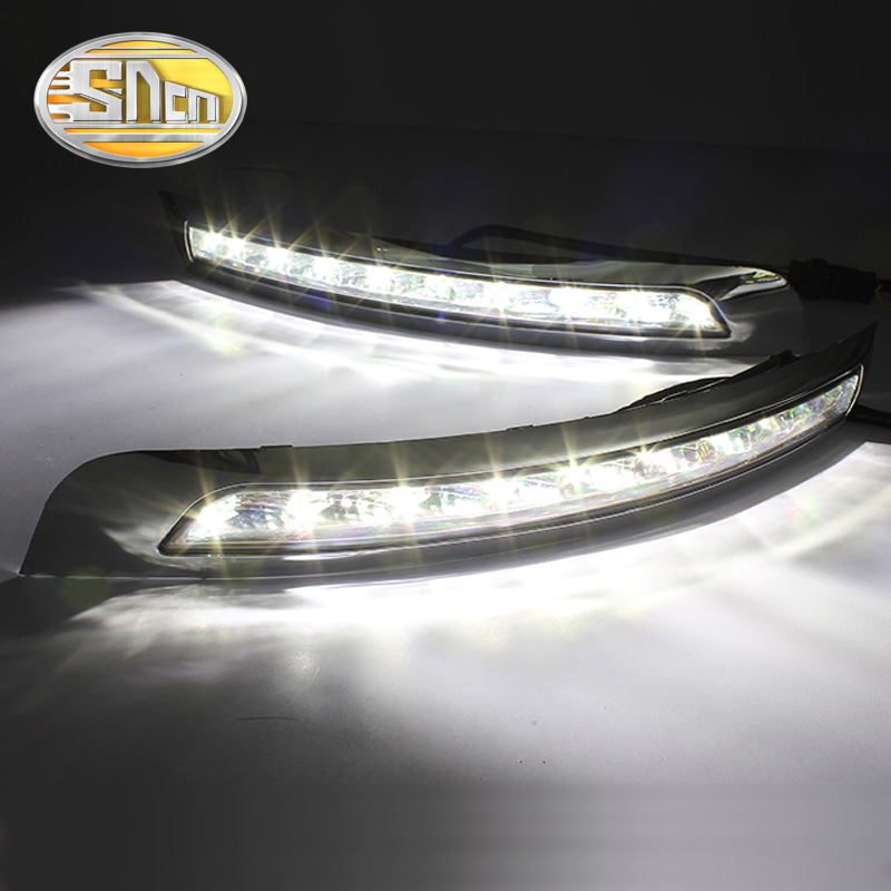 SNCN LED Daytime Running Light For Volvo XC90 2007 - 2012 2013,Car Accessories Waterproof ABS 12V DRL Fog Lamp Decoration 2x led daytime running light with fog lamp cover for mercedes benz ml350 w164 2006 2007 2008 2009 automotive accessories