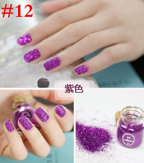 Purple Metal Glitter Nail Art Dust Tool Kit Acrylic Uv Powder Gem Polish Tools