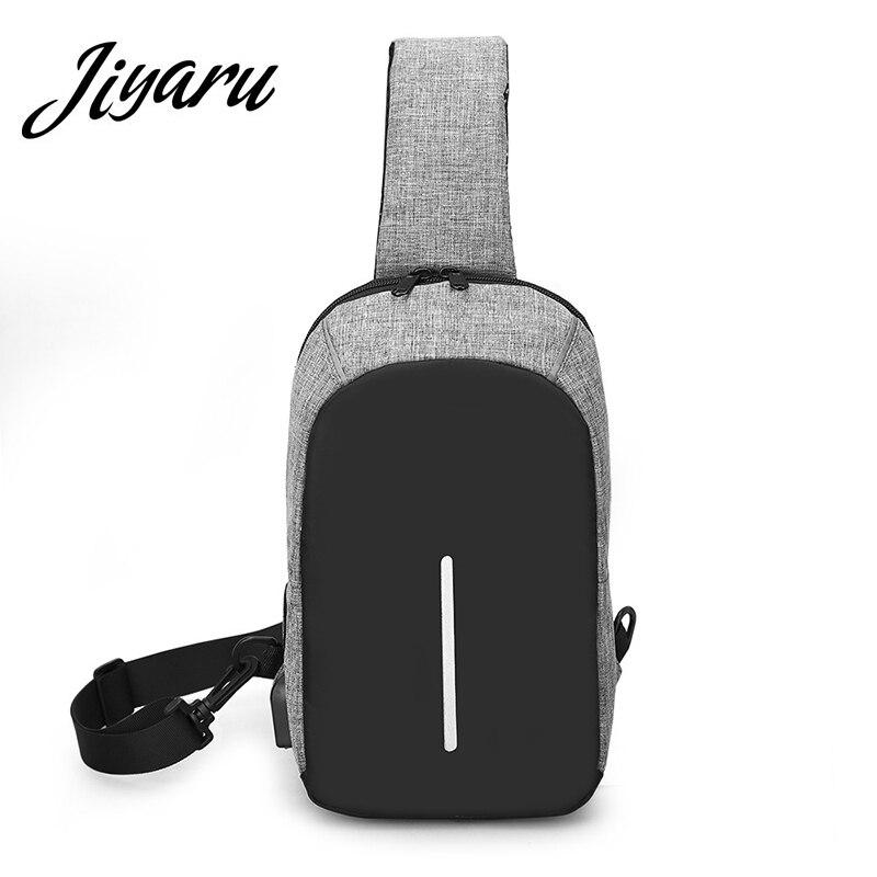 Canvas Chest Messenger Crossbody Back Pack Multifunctional Travel Bag USB Charging Shoulder Bag 4Color