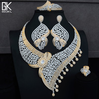 GODKI Trendy Luxury Water Drop African Jewelry Sets For Women Wedding Cubic Zircon Crystal CZ Indian Dubai Bridal Jewelry Sets