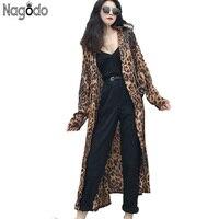 Nagodo Leopard Print blouse 2018 women Long Sleeve vintage women shirt streetwear korean ladies tops x long chiffon blouses