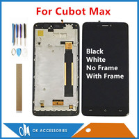 Original Quality With Frame / No Frame For Cubot Max LCD Display With Touch Screen Assembly Black White Color With Tools Tape