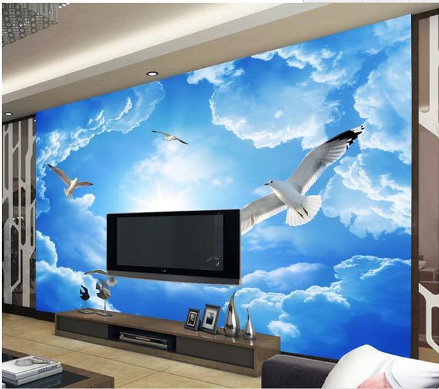 Papel pintado de encargo de la foto cielo azul y nubes blancas ...
