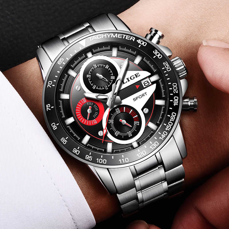LIGE mode hommes montres homme créatif affaires chronographe Quartz horloge acier inoxydable étanche montre hommes Relogio Masculino