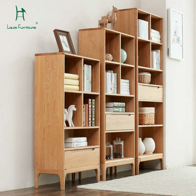 official photos 60f56 db4fd US $590.9 |Louis Fashion Bookcases Japanese White Oak Study Furniture All  Solid Wood Display Display Rack New Products-in Bookcases from Furniture on  ...