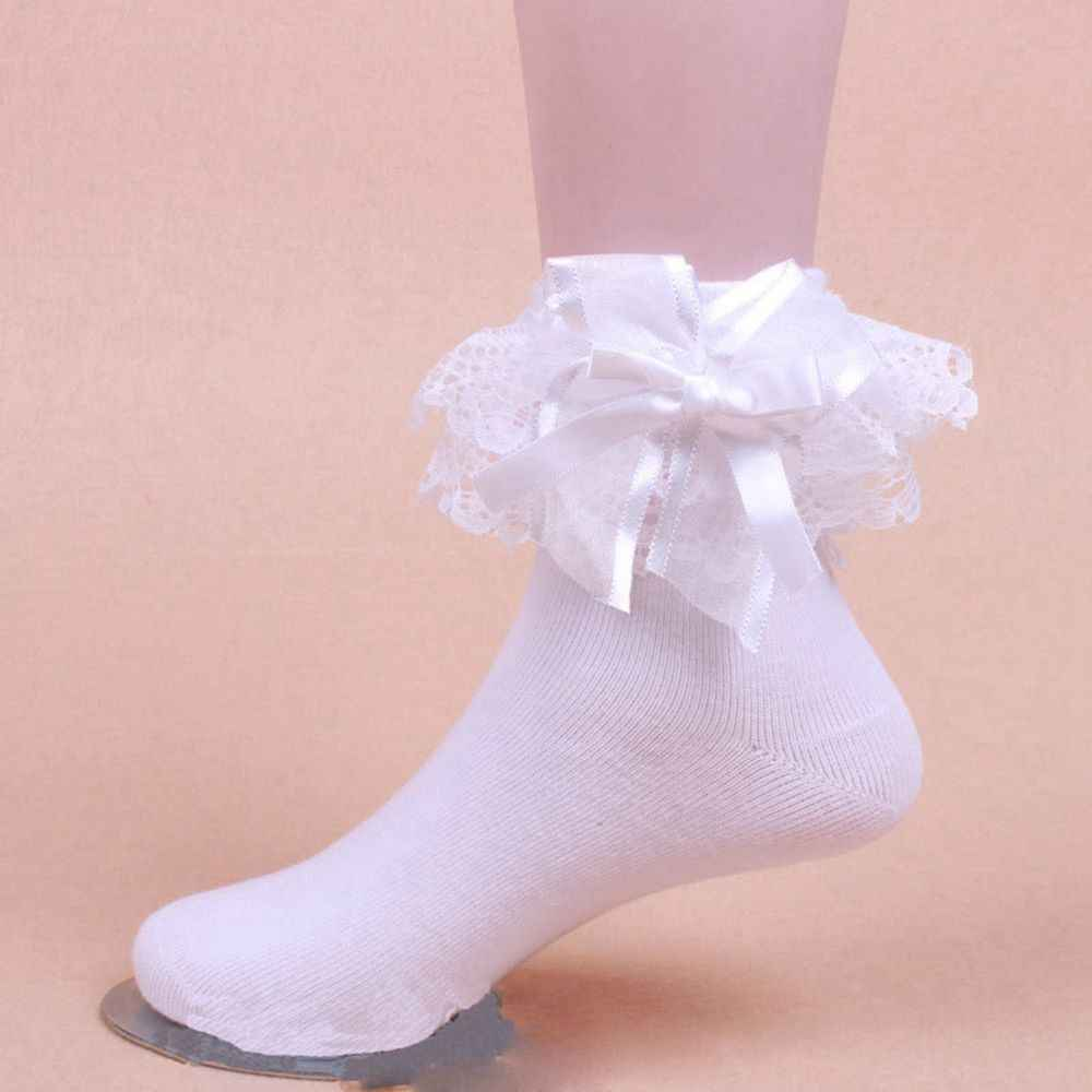 Cute Girls Lace Ruffle Frilly Ankle Socks Sweet Big Bow Princess Cotton Short Socks