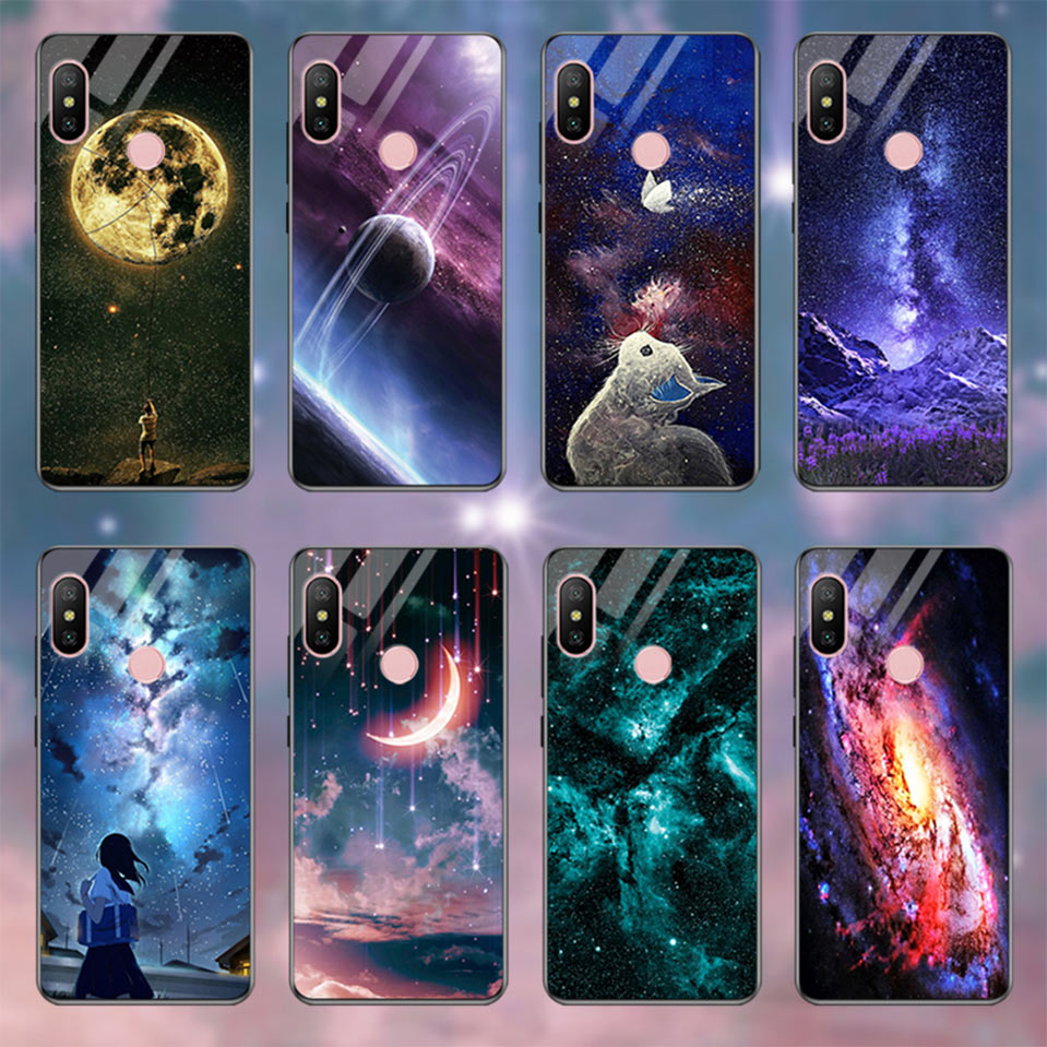 Tempered Glass Case For Xiaomi Redmi 6A Note 5 6 Pro Global 5 Plus 4X Cover Pattern Xiomi Phone Case for Xiaomi Mi A2 Lite A1 5X (23)