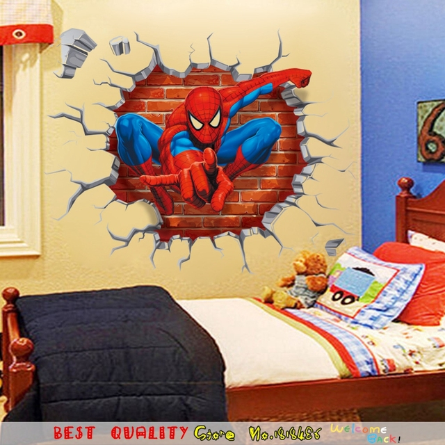 45*50CM 3D Spiderman Wall Paper Paste Craft Cartoon Movie Poster ...
