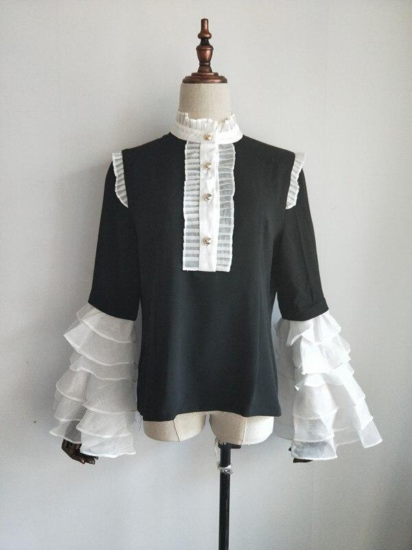 2018 High Street Ruffle Sleeve Blouse Womens Elegant Single Breasted Guaze Shirt
