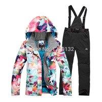 Free Shipping Winter Warm Women Ski Waterproof Suit Snowboard Jacket And Pants For Women
