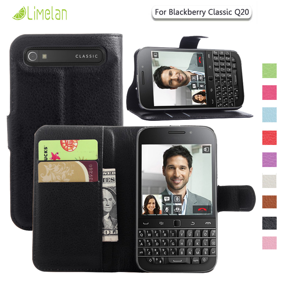 Buy Limelan For Blackberry Q20 Luxury Litchi Classic Black Wallet Pu Leather Phone Case Cover Skin Fundas Coque Capa From