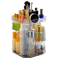 Large Capacity Lipsticks Storage 360 Degree Rotating Adjustable Cosmetic Case Box Jewelry Holder Makeup Organizer Display