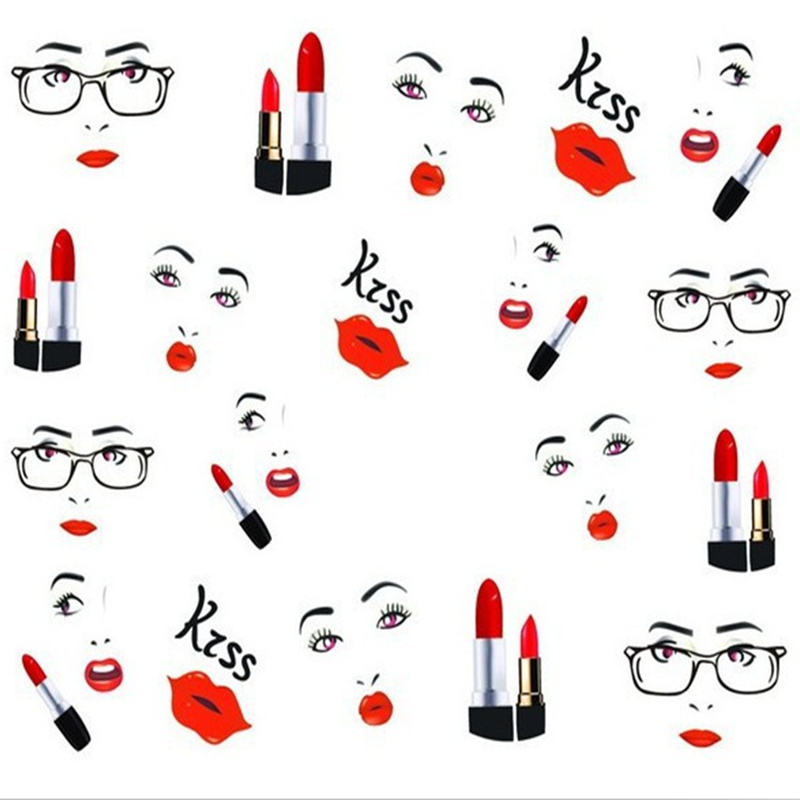 water transfer template french with style of lipstick design tip