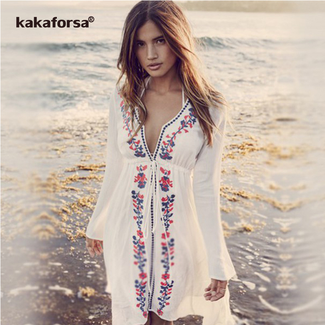 9c87efeabe5bd Kakaforsa Beach Cover up Pareo Floral Embroidery Bikini Cover Up Swimwear  Women Robe De Plage Swimsuit Bathing Suit Cover Ups